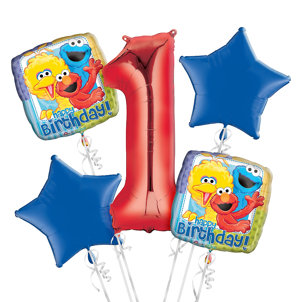 Sesame Street 1st Birthday Balloon Bouquet 5pc Image #1