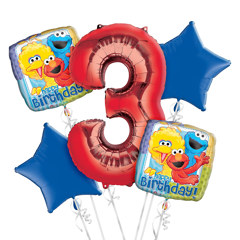 Sesame Street 3rd Birthday Balloon Bouquet 5pc Image #1
