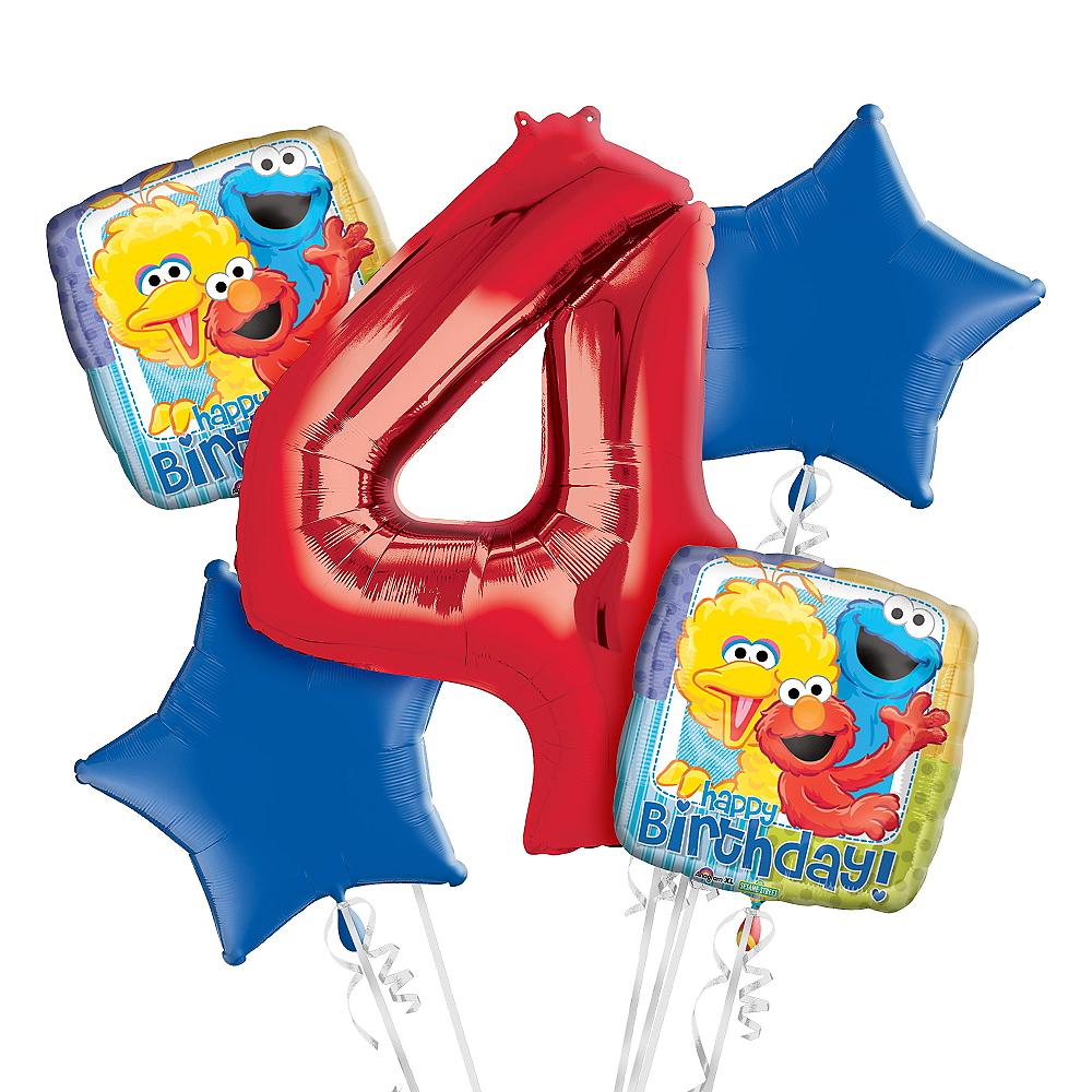 Sesame Street 4th Birthday Balloon Bouquet 5pc Image #1