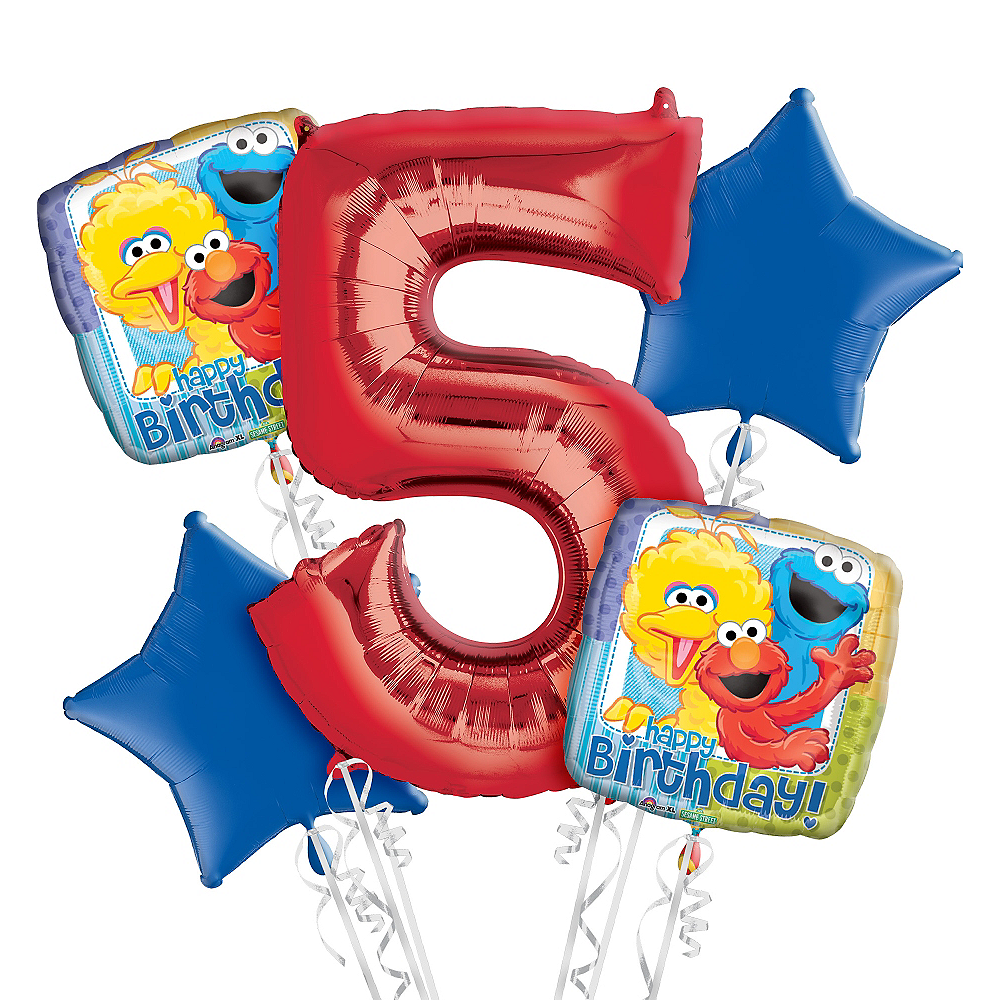 Sesame Street 5th Birthday Balloon Bouquet 5pc Image #1