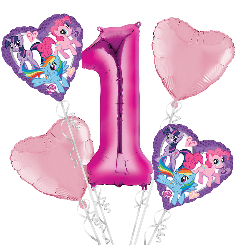 My Little Pony 1st Birthday Balloon Bouquet 5pc Image 1