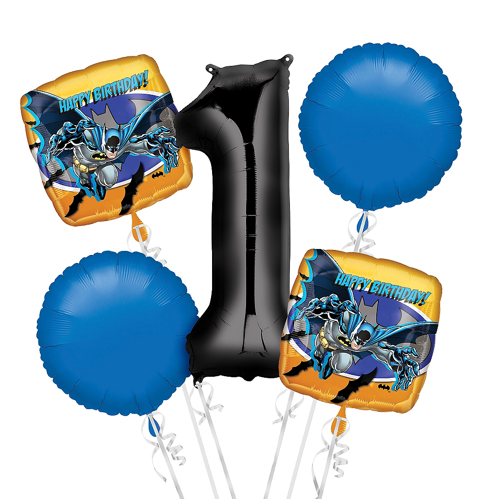 Batman 1st Birthday Balloon Bouquet 5pc Image #1