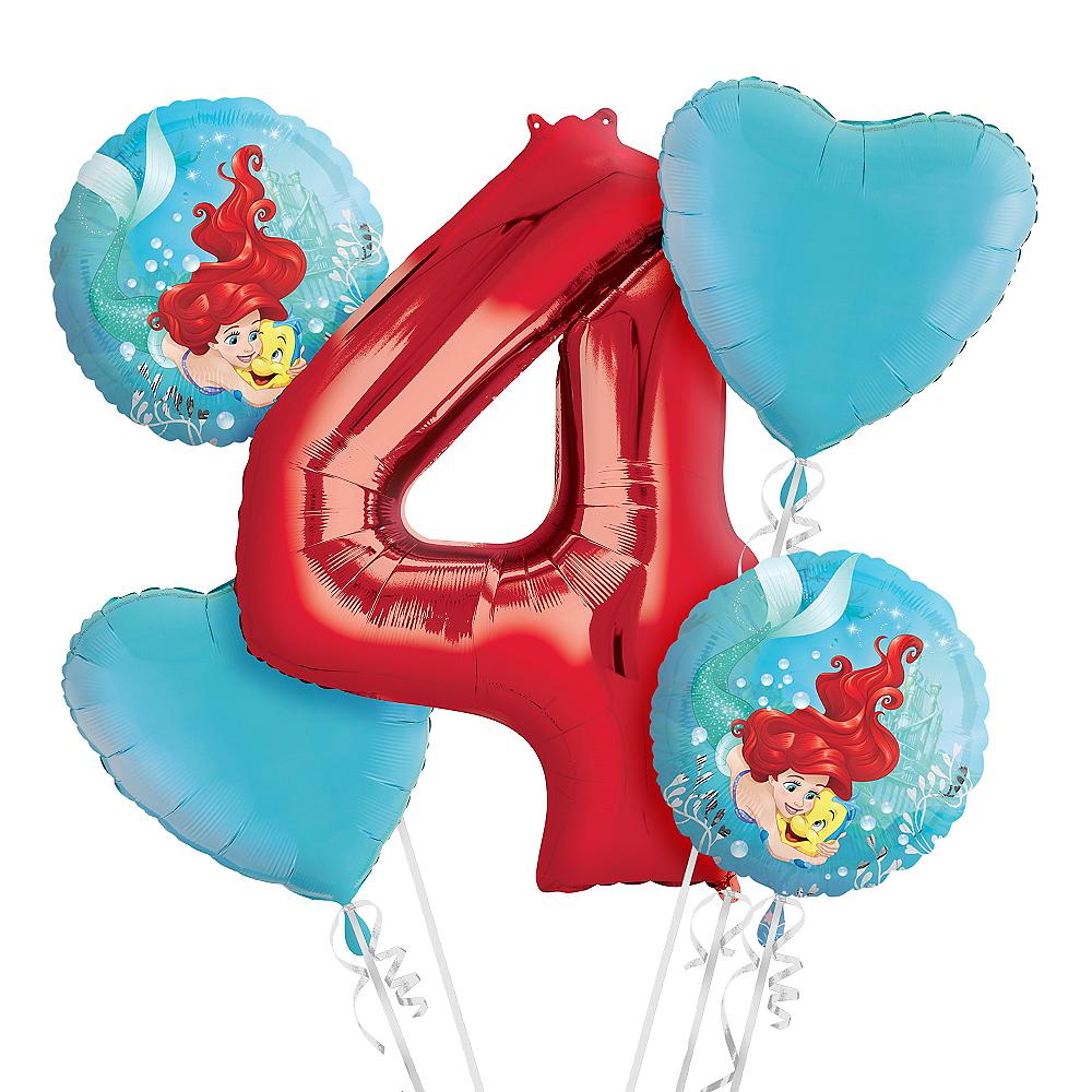 Little Mermaid 4th Birthday Balloon Bouquet 5pc Image 1