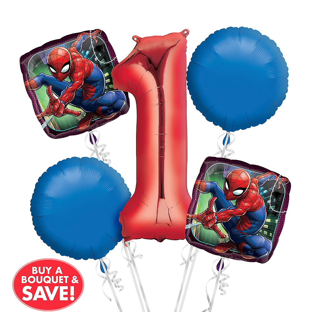 Nav Item For Spider Man 1st Birthday Balloon Bouquet 5pc Image 1