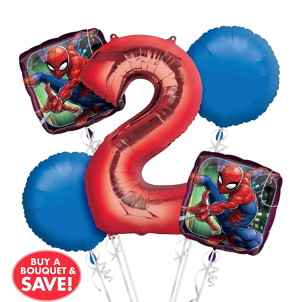 Spider-Man 2nd Birthday Balloon Bouquet 5pc Image #1
