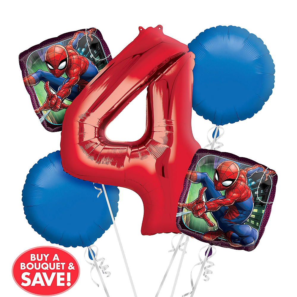 Spider-Man 4th Birthday Balloon Bouquet 5pc Image #1