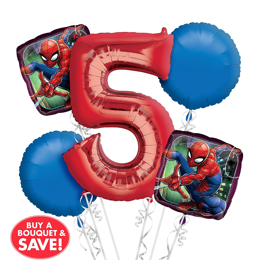 Spider-Man 5th Birthday Balloon Bouquet 5pc Image #1