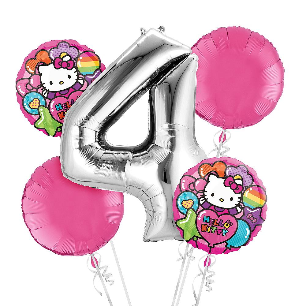 Nav Item For Rainbow Hello Kitty 4th Birthday Balloon Bouquet 5pc Image 1