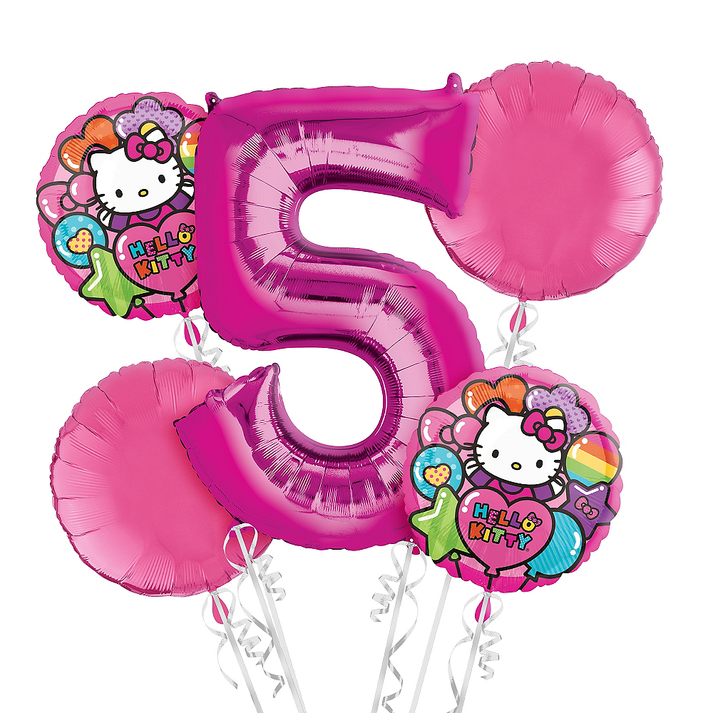 Nav Item For Rainbow Hello Kitty 5th Birthday Balloon Bouquet 5pc Image 1