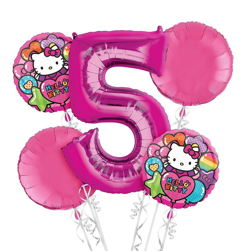 Nav Item For Rainbow Hello Kitty 5th Birthday Balloon Bouquet 5pc Image 1