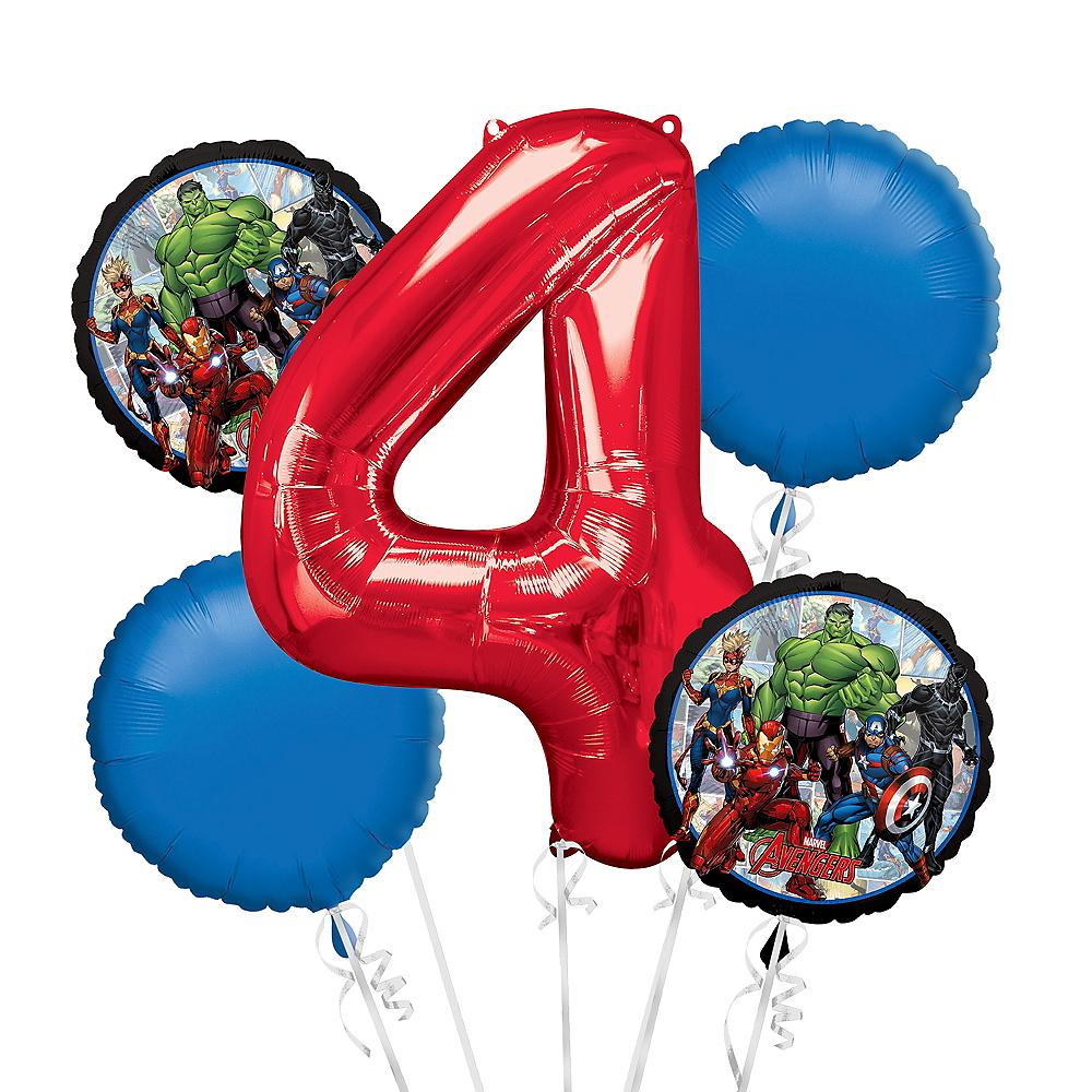 Avengers 4th Birthday Balloon Bouquet 5pc Image 1
