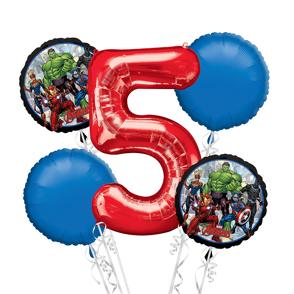 Avengers 5th Birthday Balloon Bouquet 5pc Image 1