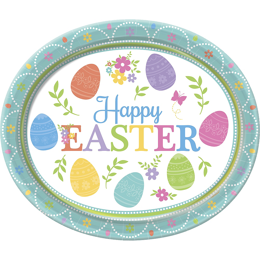 Egg-citing Easter Oval Plates 8ct Image #1