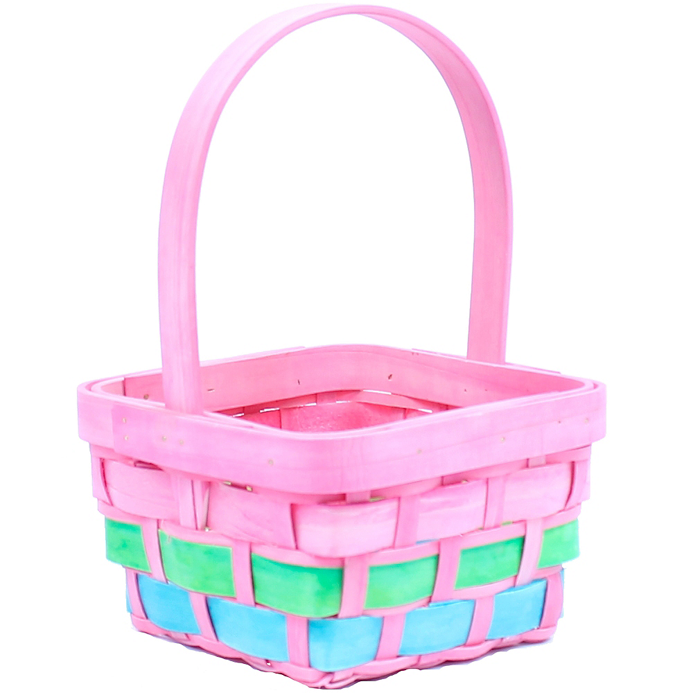 Small Pink Wood Easter Basket Image 1