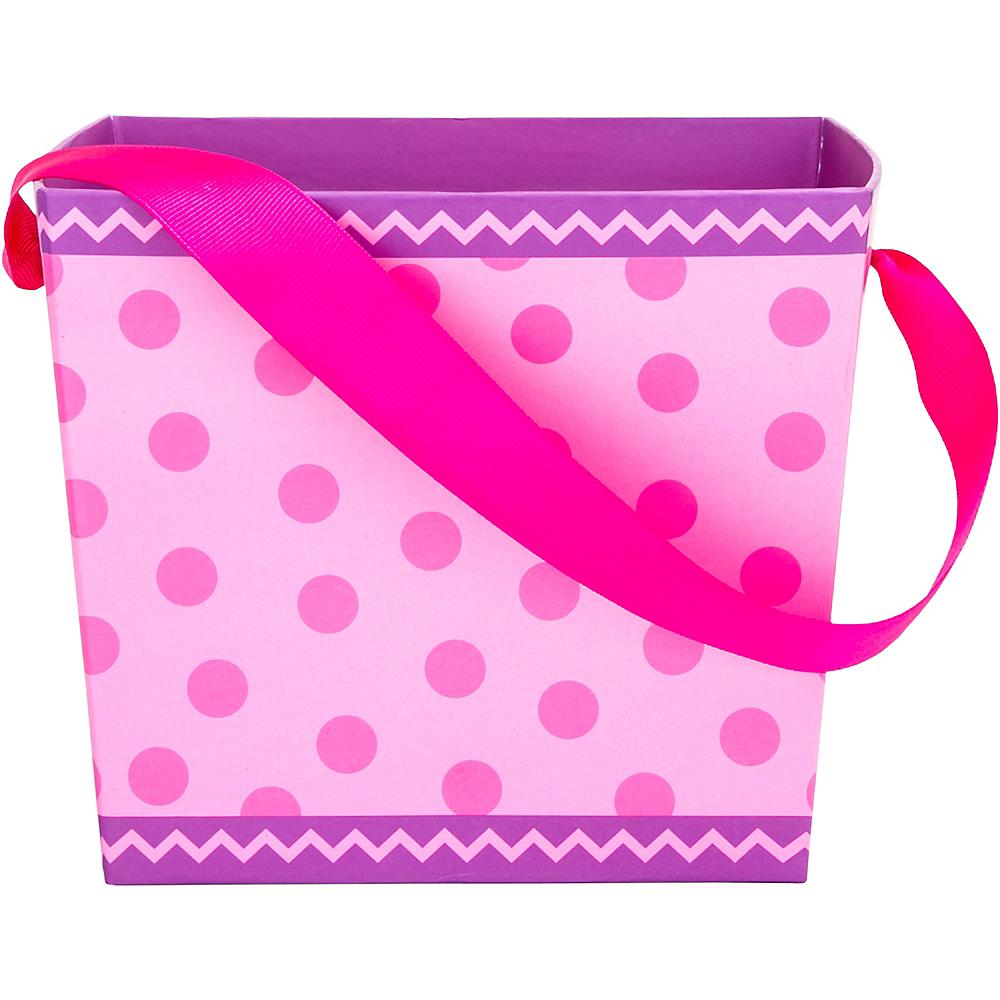 Pink Polka Dot Square Easter Basket Image #1