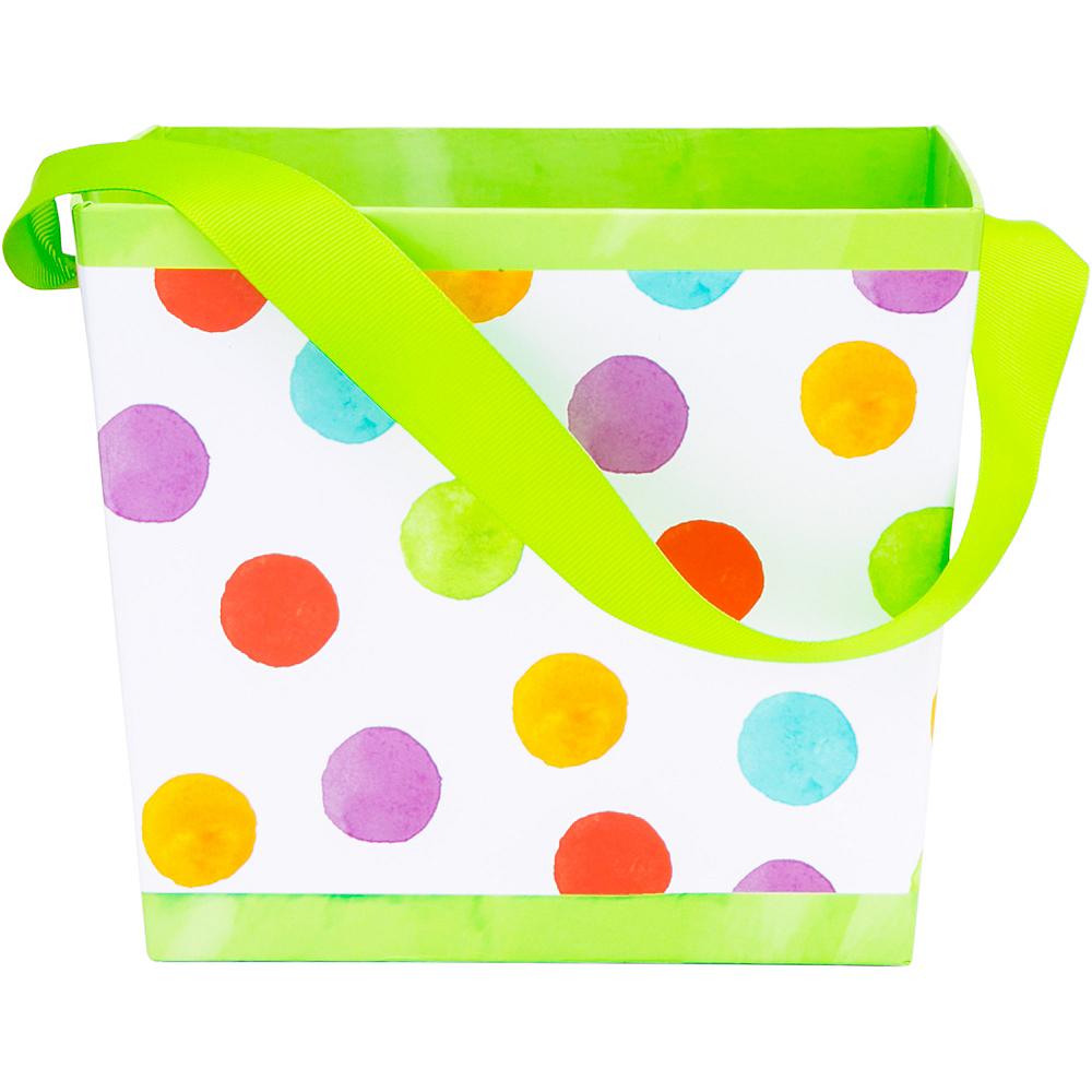 Colorful Polka Dot Square Easter Basket Image #1