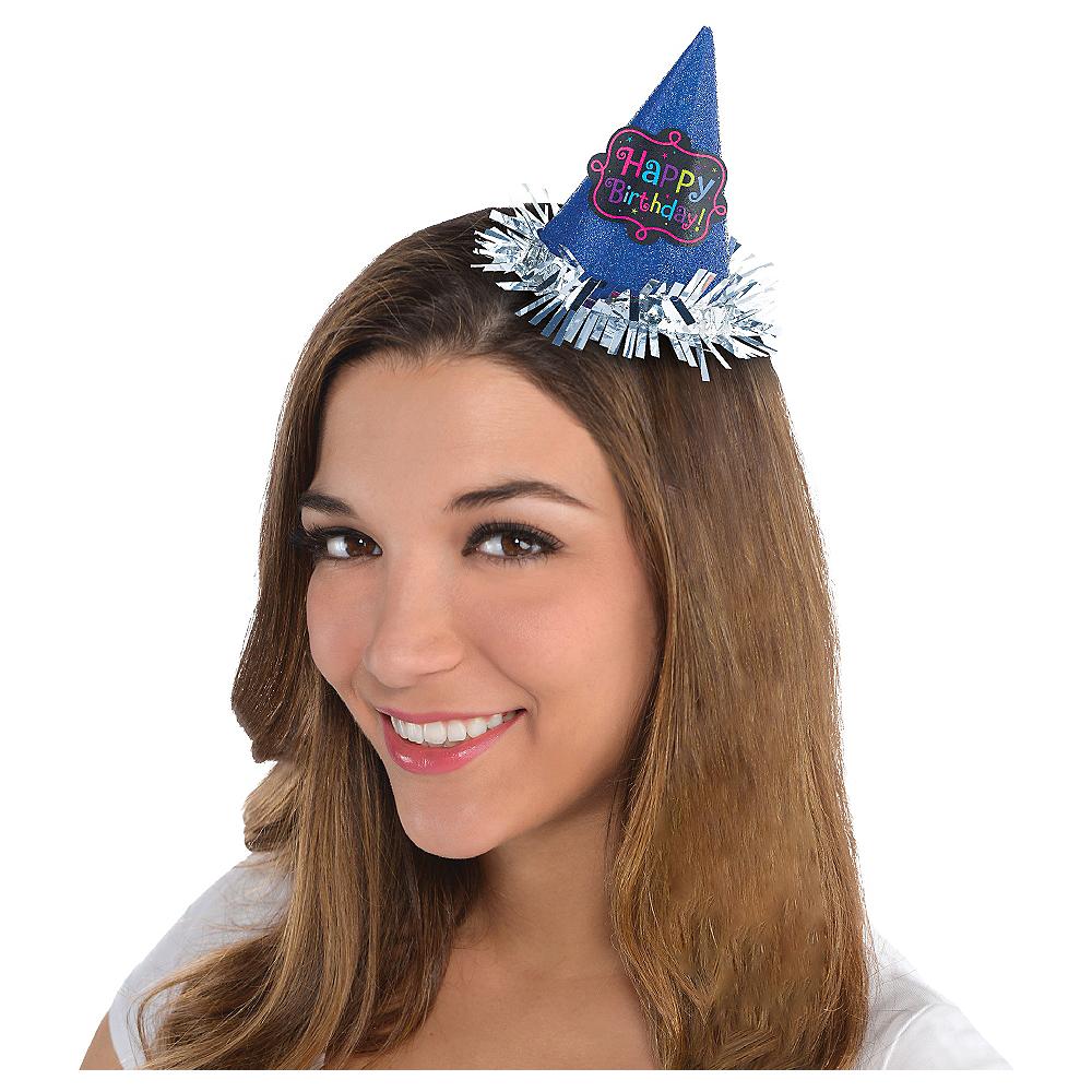 Blue Glitter Happy Birthday Mini Party Hat Image #1
