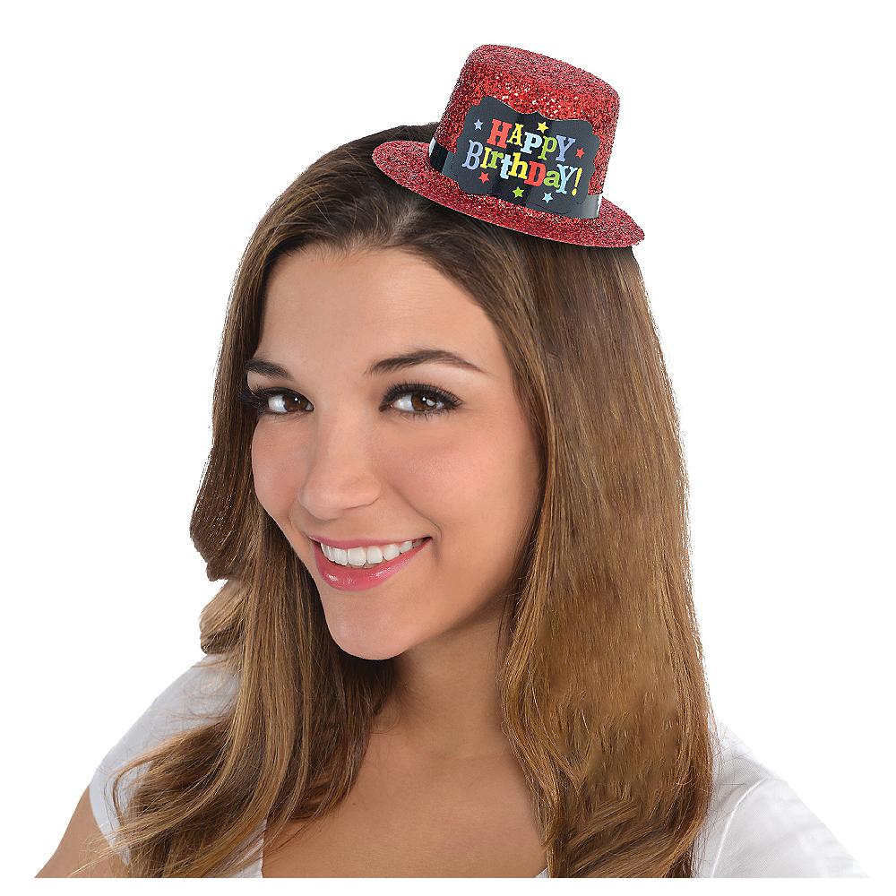 Red Glitter Happy Birthday Mini Top Hat Image #1