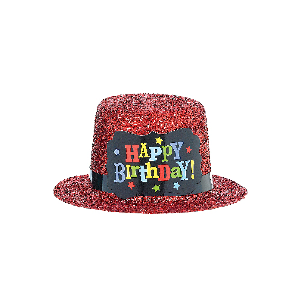 Red Glitter Happy Birthday Mini Top Hat Image #2