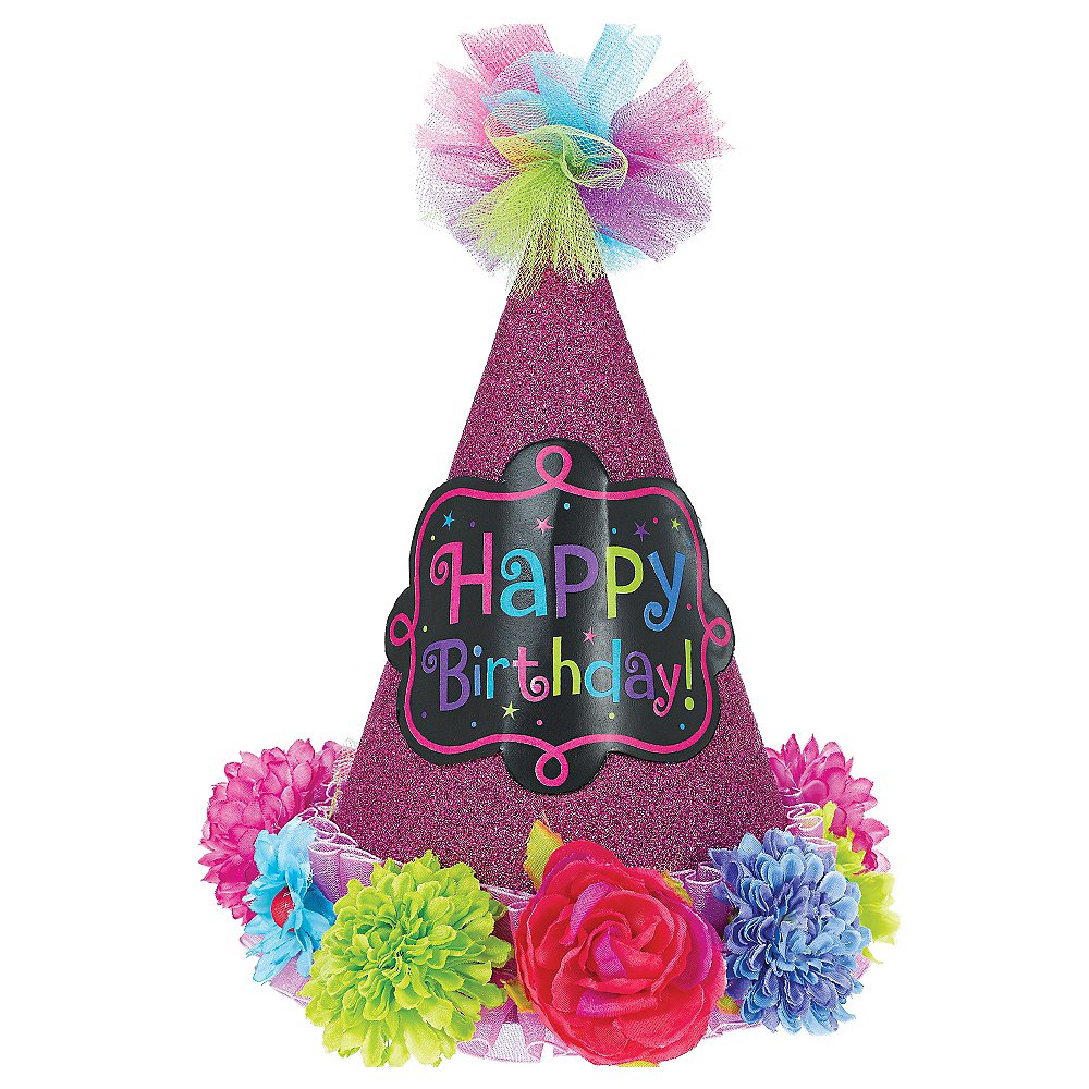Bright Flowers Happy Birthday Party Hat Image #1