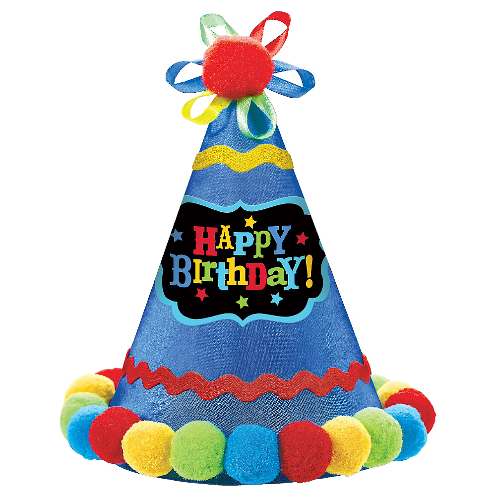 Blue Pom Happy Birthday Party Hat Image 1