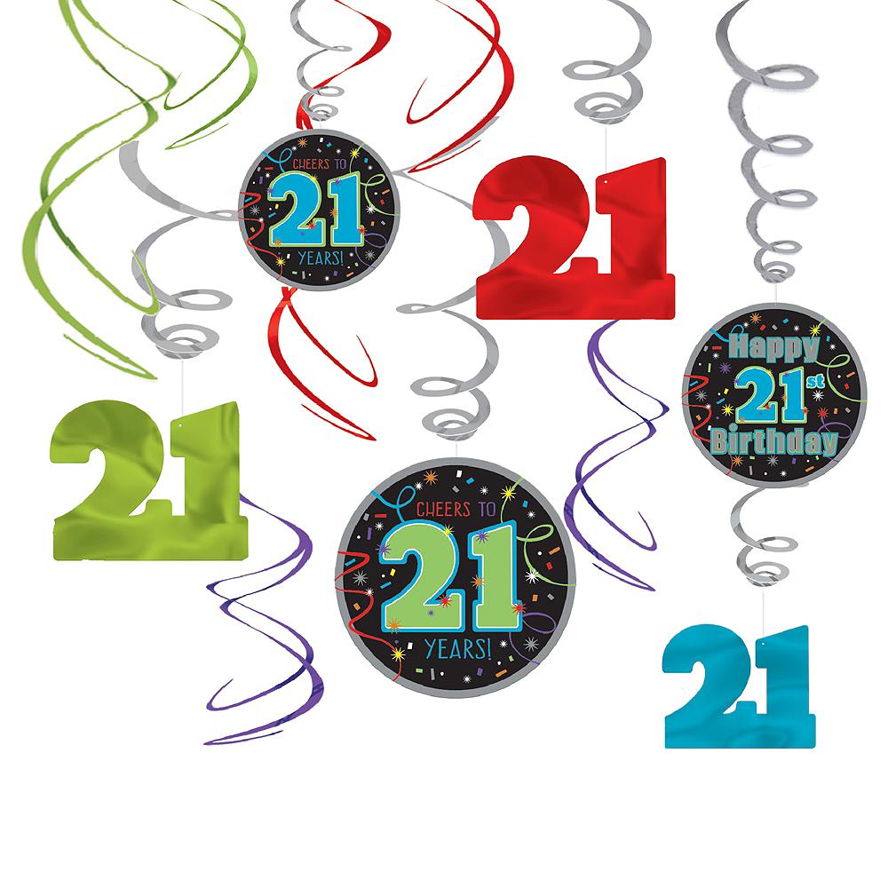 Brilliant 21st Birthday Swirl Decorations 12ct Image 1