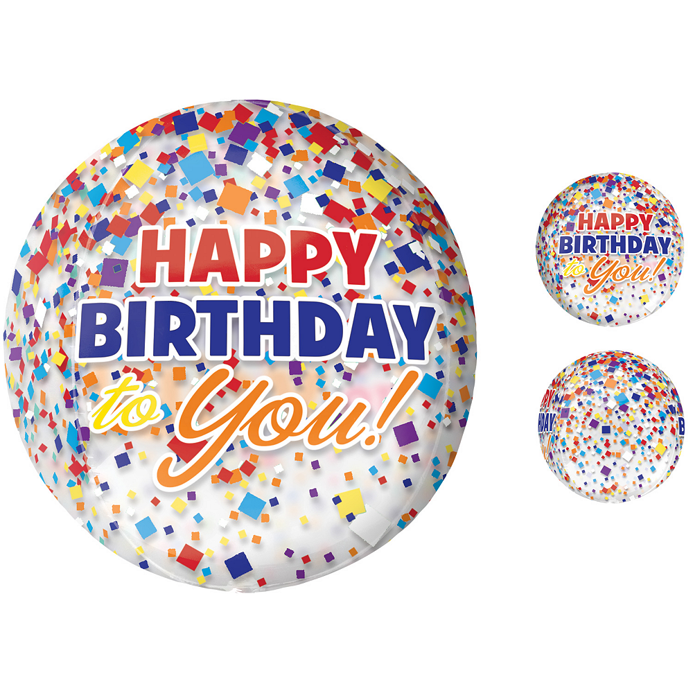 Rainbow-fetti Happy Birthday Balloon - See Thru Orbz Image #1