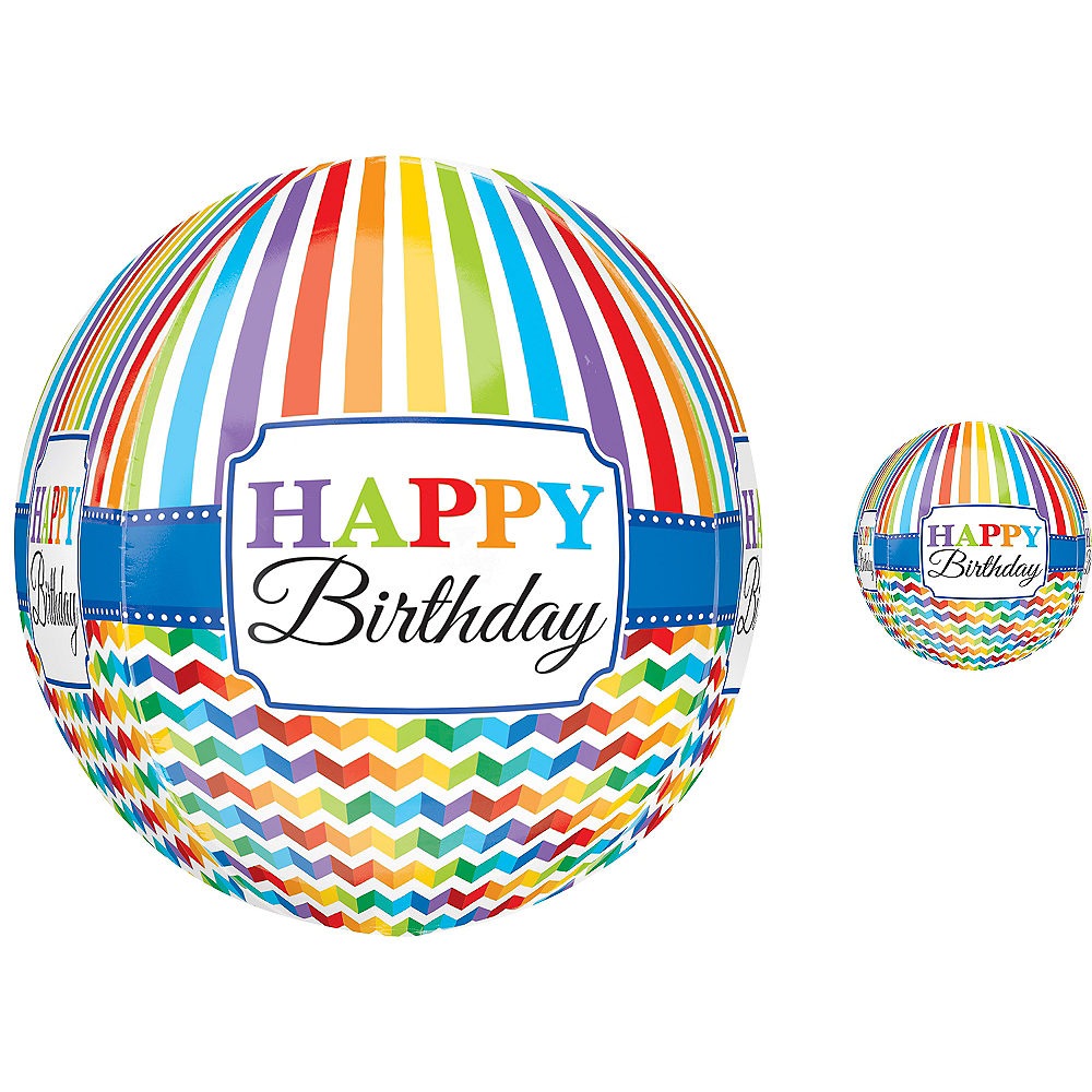 Happy Birthday Balloon - Orbz Bright Chevron Image #1
