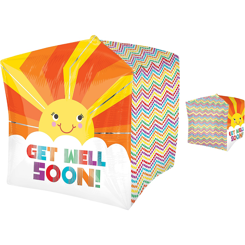 Get Well Soon Balloon - Cubez Sunshine Chevron Image #1