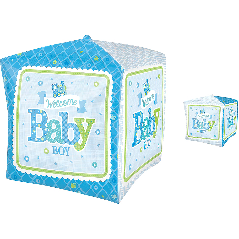 Boy Welcome Baby Balloon - Cubez Welcome Little One, 15in Image #1