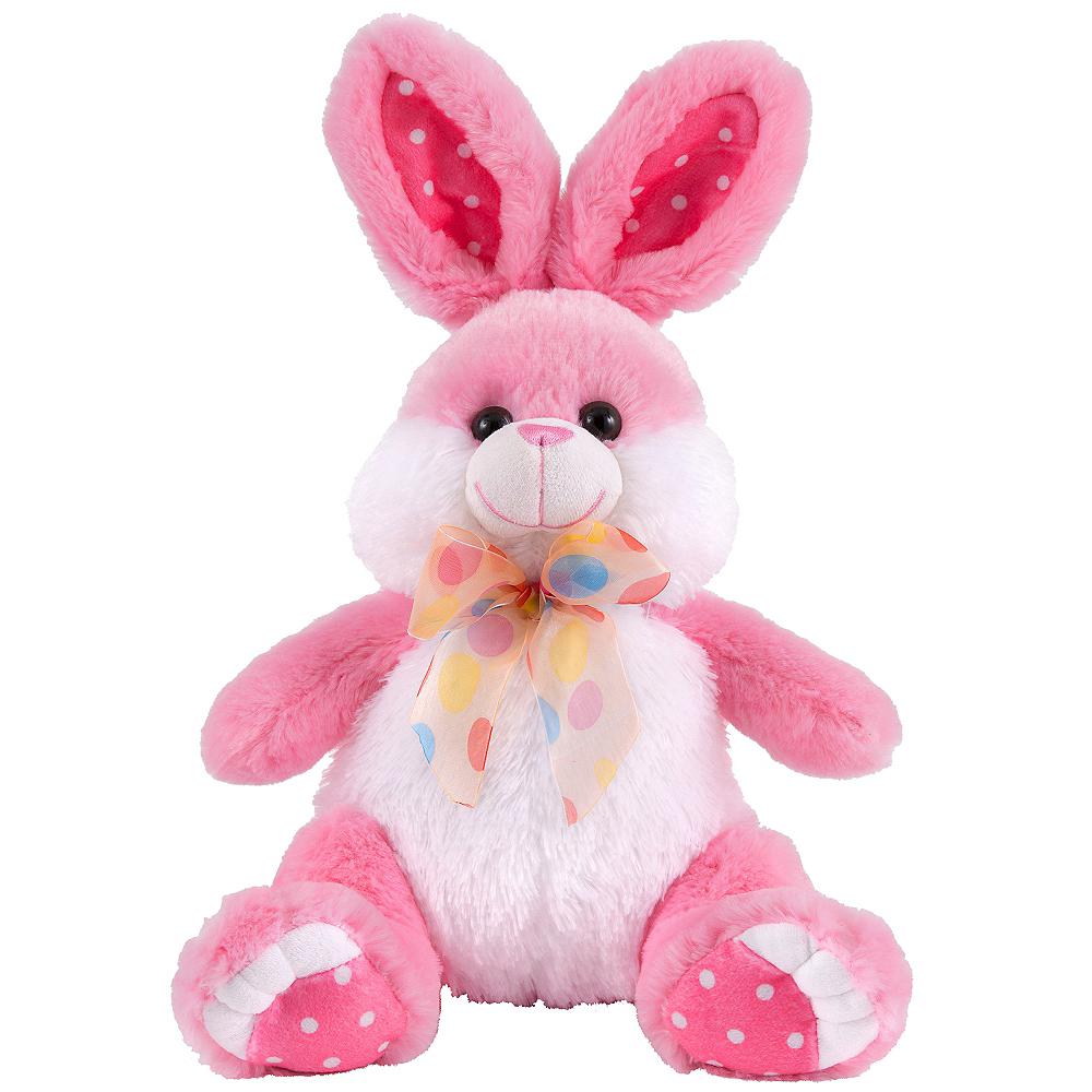Polka Dot Bow Pink Easter Bunny Plush Image #1
