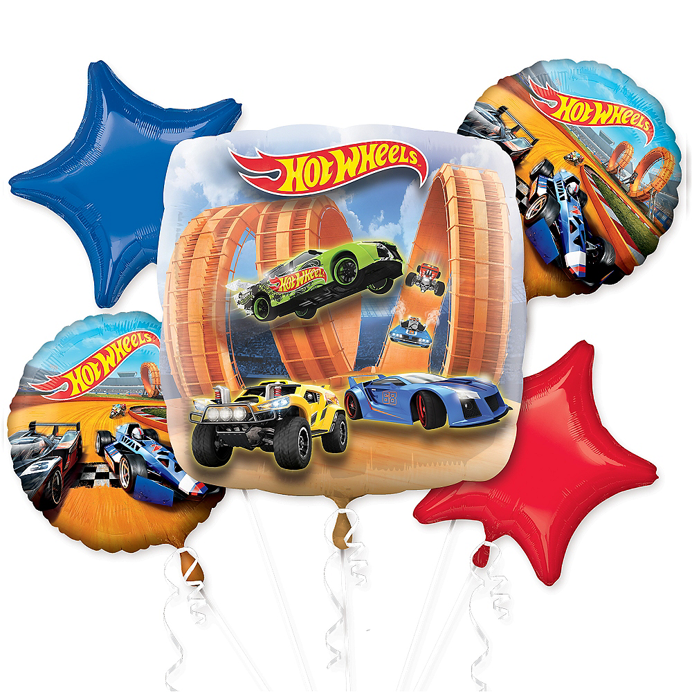 Hot Wheels Balloon Bouquet 5pc Image #1