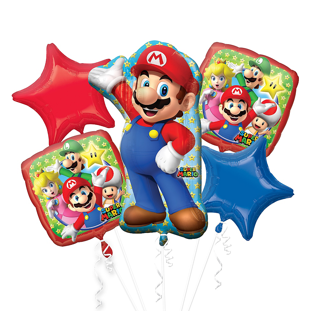 Nav Item for Super Mario Balloon Bouquet 5pc - Giant Image #1