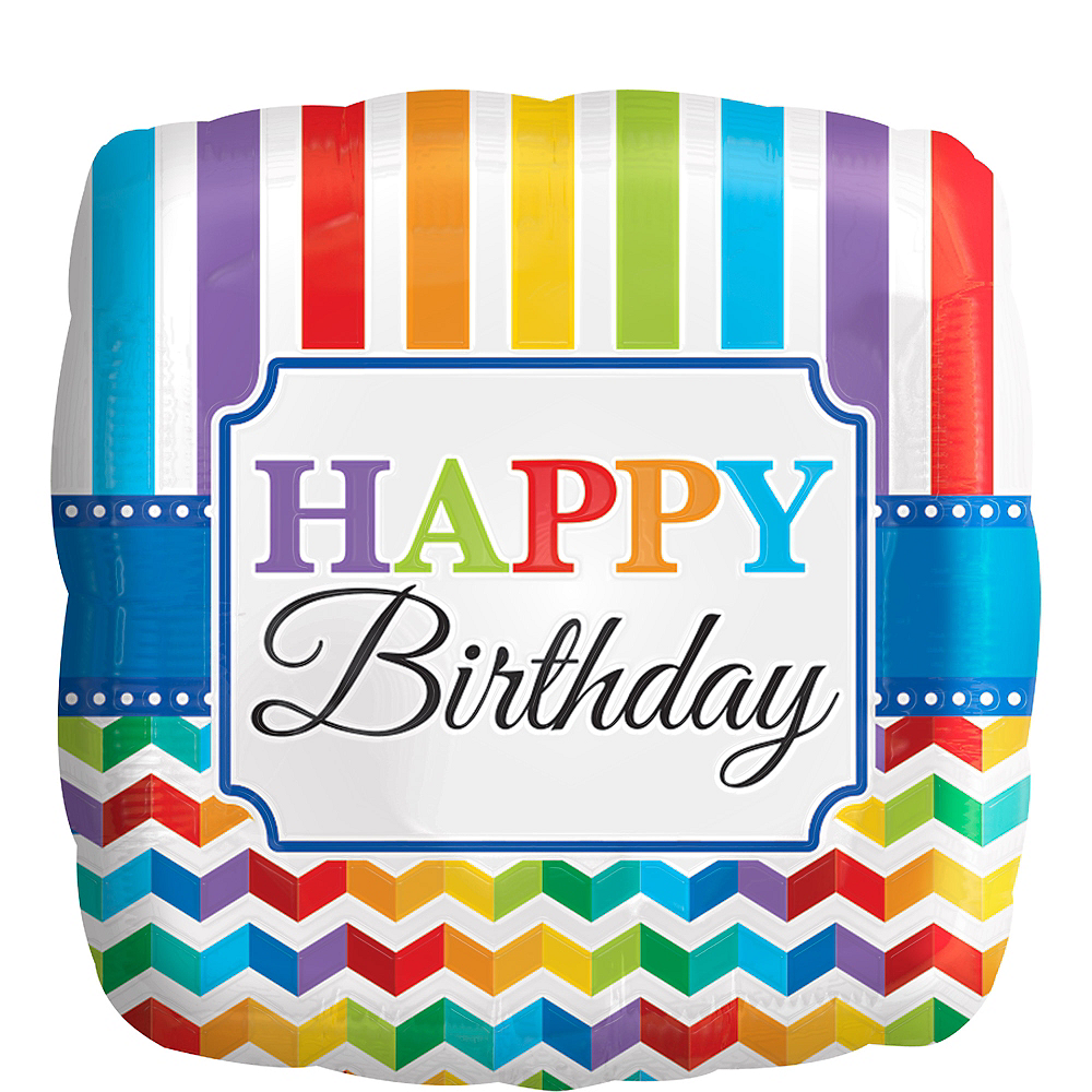 Rainbow Chevron Birthday Balloon, 17in Image #1