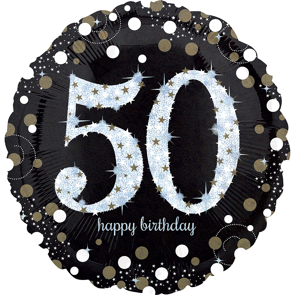 50th Birthday Balloon 18in -Sparkling Celebration, 18in Image #1