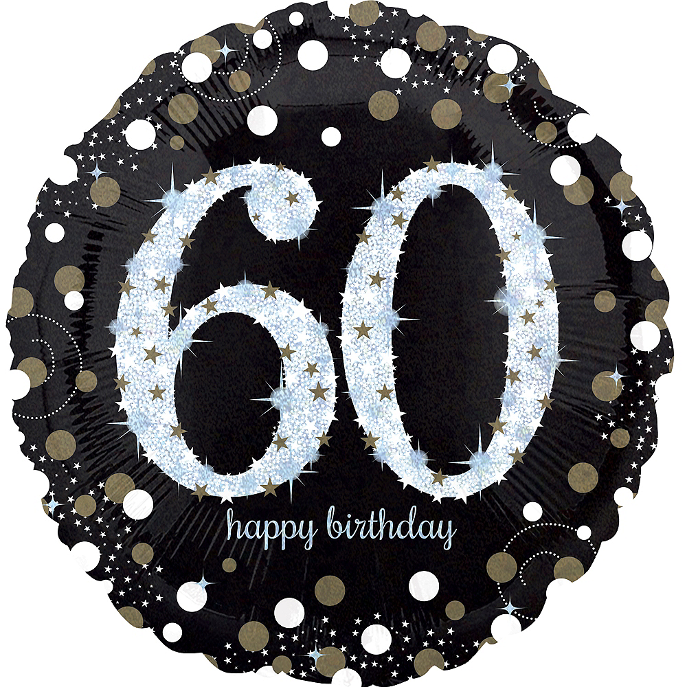60th Birthday Balloon 18in -Sparkling Celebration, 18in Image #1