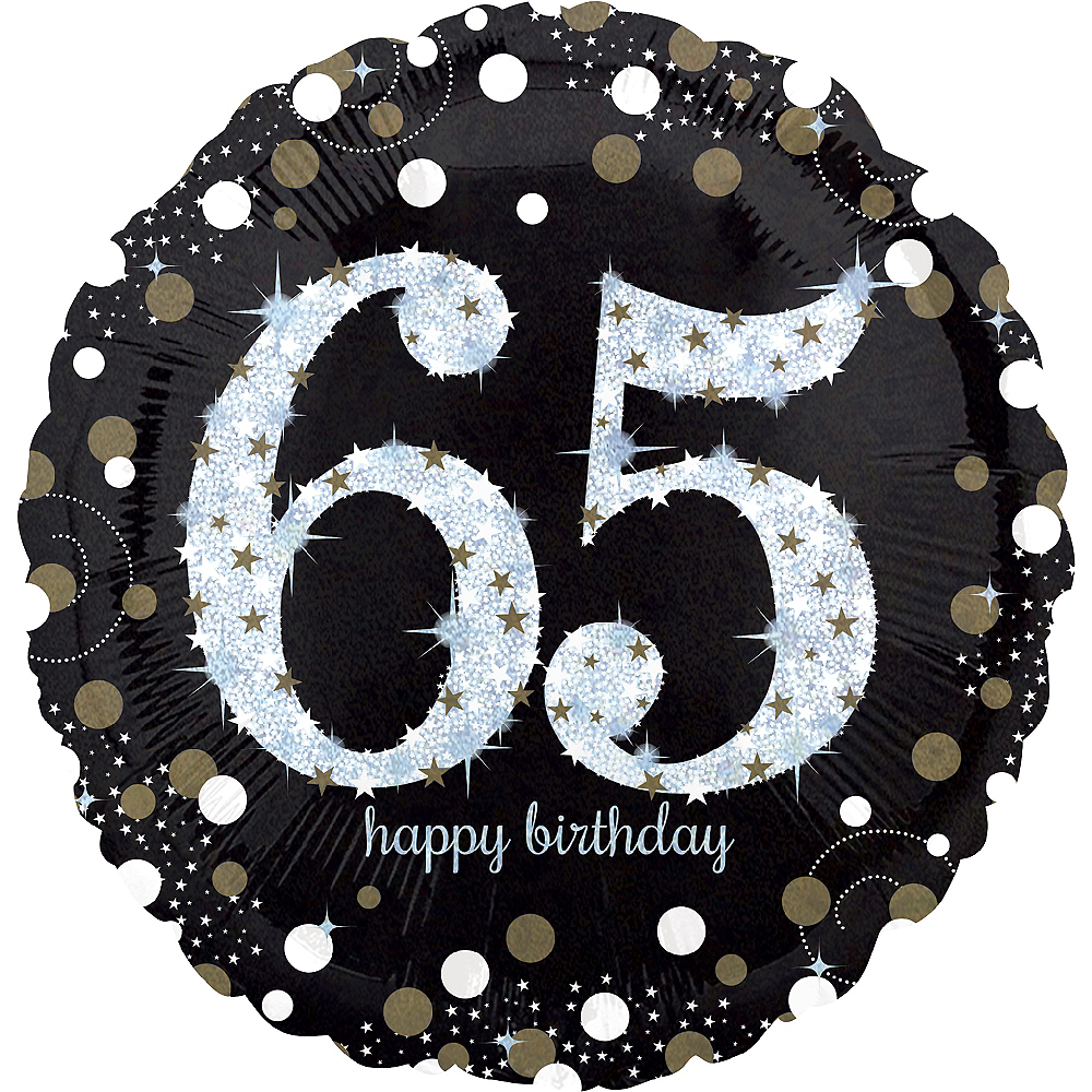 65th Birthday Balloon 18in Sparkling Celebration Image 1