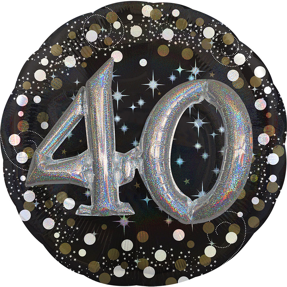40th Birthday Balloon 32in - 3D Sparkling Celebration Image #1
