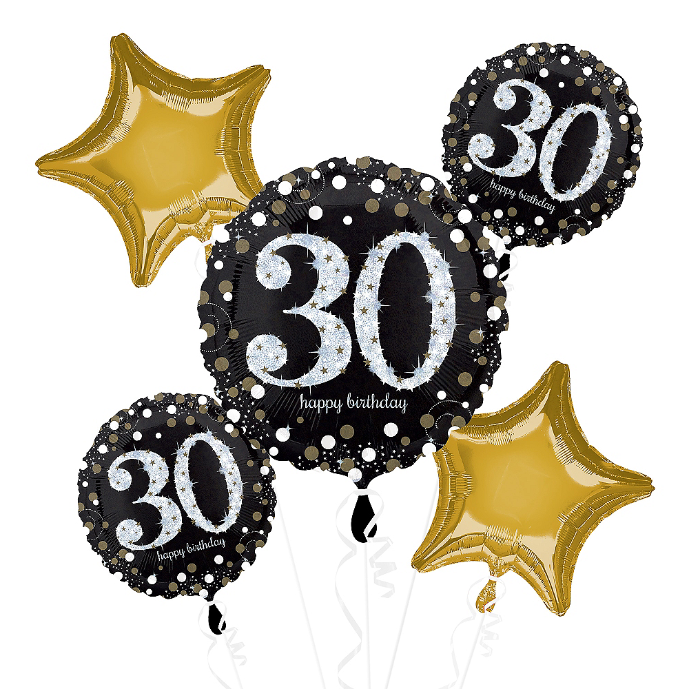 30th Birthday Balloon Bouquet 5pc - Sparkling Celebration Image #1