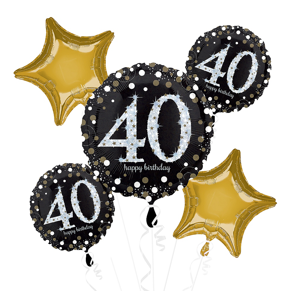 40th Birthday Balloon Bouquet 5pc - Sparkling Celebration Image #1