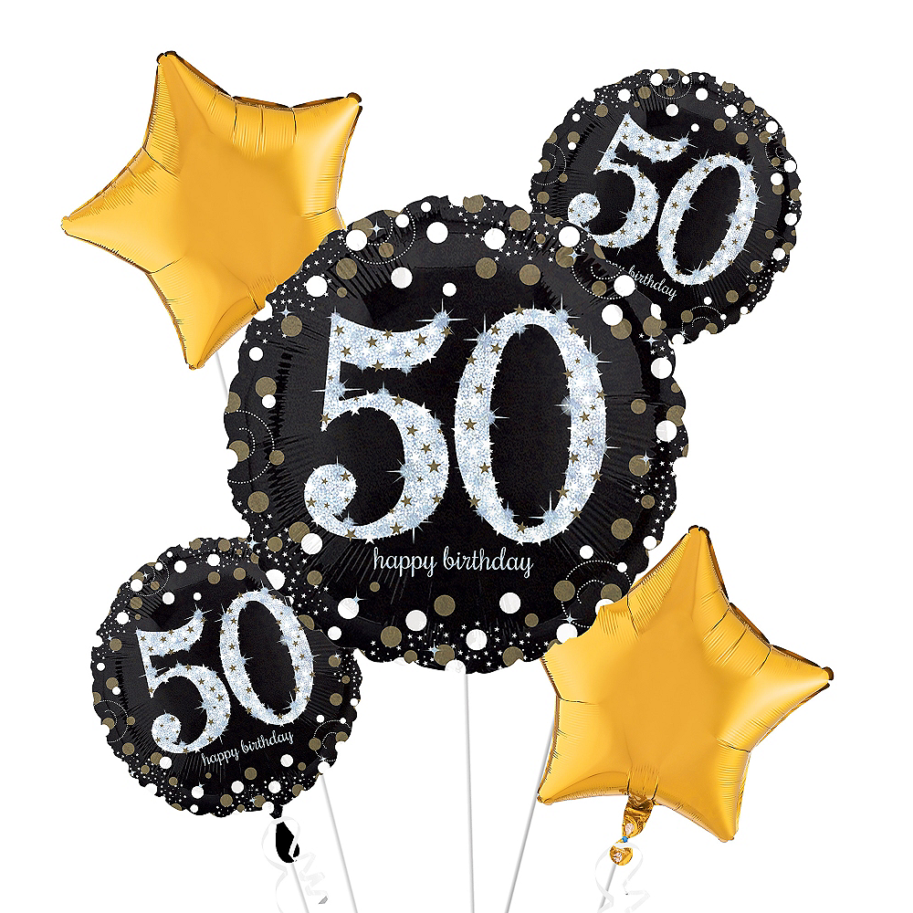 50th Birthday Balloon Bouquet 5pc - Sparkling Celebration Image #1