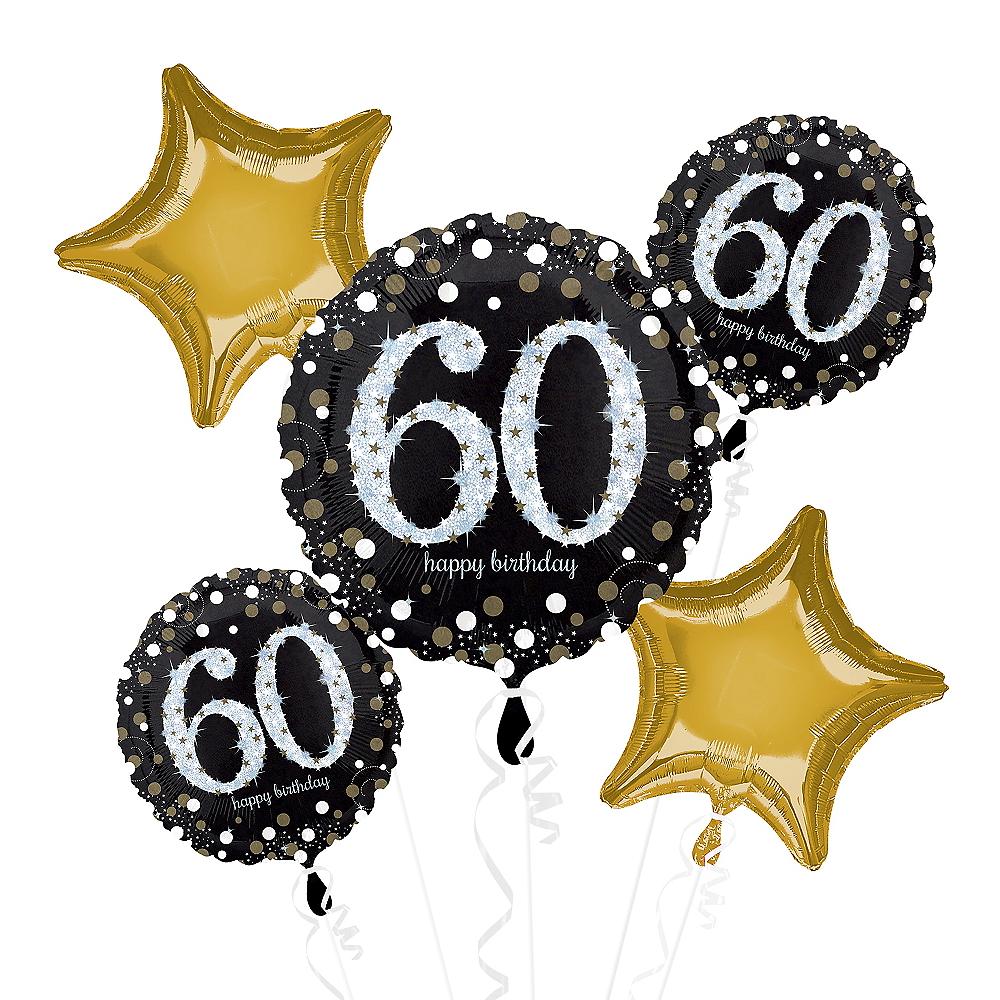 60th Birthday Balloon Bouquet 5pc - Sparkling Celebration Image #1