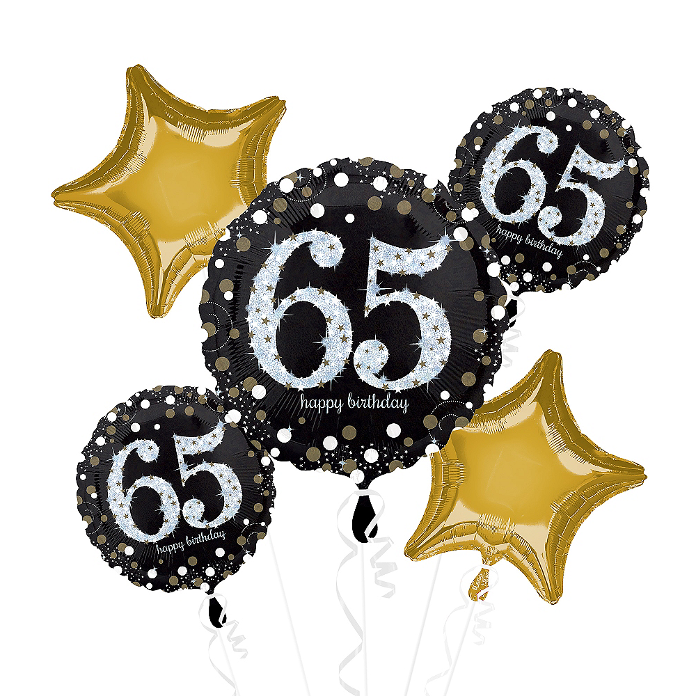 65th Birthday Balloon Bouquet 5pc - Sparkling Celebration Image #1