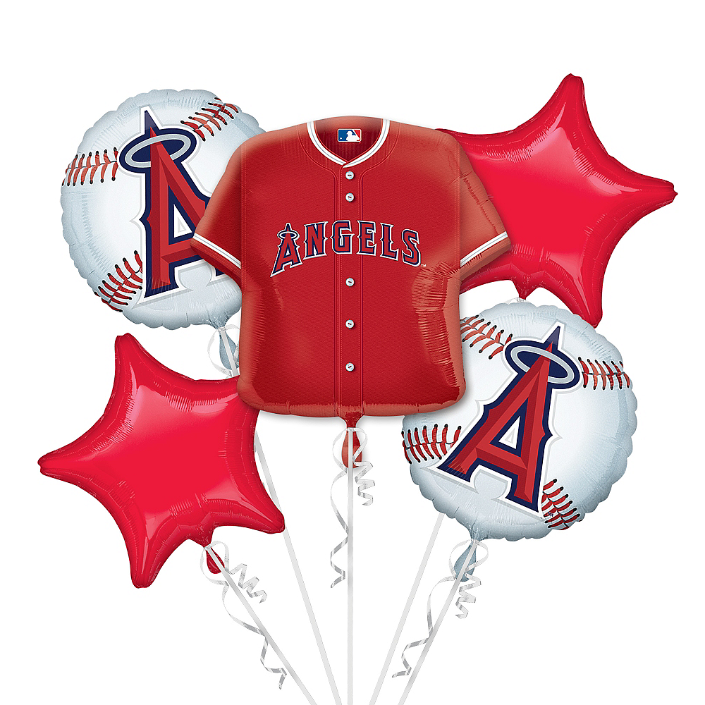 Los Angeles Angels Balloon Bouquet 5pc - Jersey Image #1