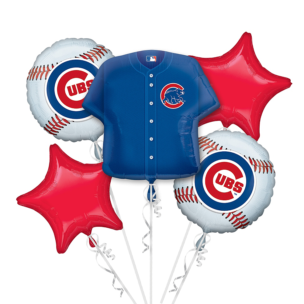 Chicago Cubs Balloon Bouquet 5pc - Jersey Image #1