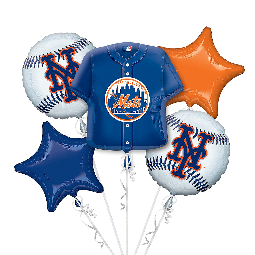 New York Mets Balloon Bouquet 5pc - Jersey Image #1