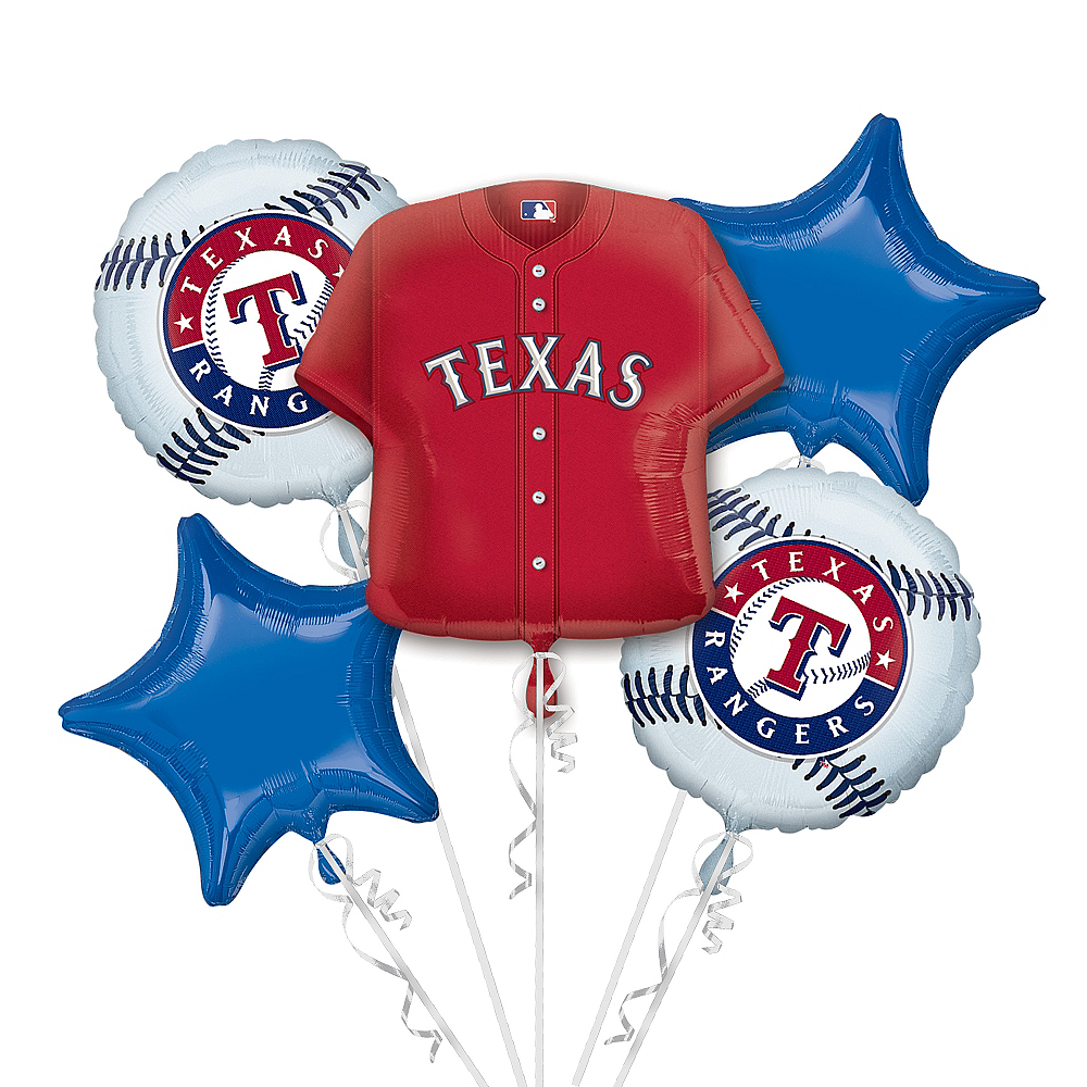 Texas Rangers Balloon Bouquet 5pc - Jersey Image #1