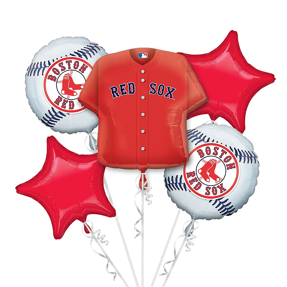 Boston Red Sox Balloon Bouquet 5pc - Jersey Image #1