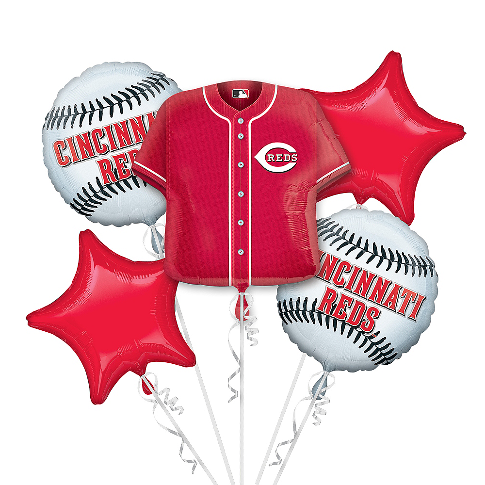Cincinnati Reds Balloon Bouquet 5pc - Jersey Image #1