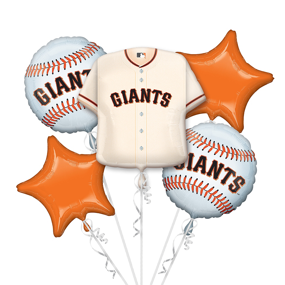 San Francisco Giants Balloon Bouquet 5pc - Jersey Image #1